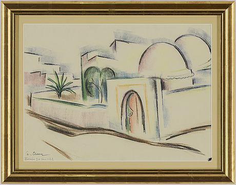 Agnes cleve, pastel, signed and dated tunis -22.