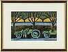 Agnes cleve, woodcut. signed with stamp a cleve.