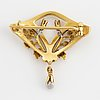 18k gold and pearl jugend brooch.