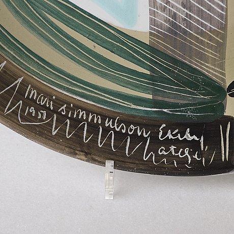 Mari simmulson, a faience dish, ekeby ateljé, sweden 1950.