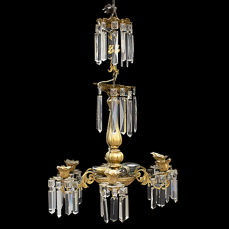 A late 19th century brass chandelier.
