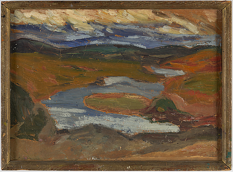 Helmer osslund, oil on grease proof paper/paper-panel, indistingtly signed.