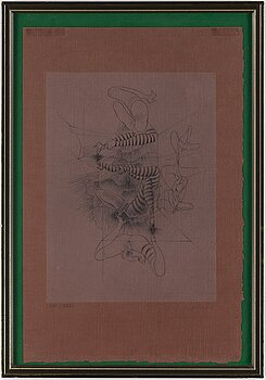 HANS BELLMER, etching on coloured paper, 1967, signed in pencil and numbered XIV/XXVI.