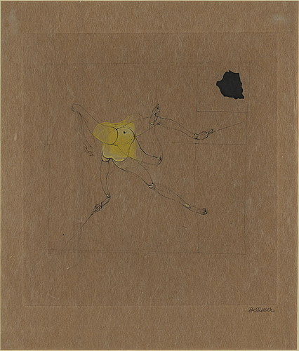 Hans bellmer, drypoint etching and watercolour on brown paper, 1969, signed in pencil.
