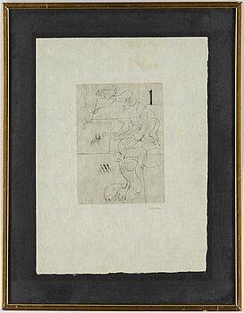 HANS BELLMER, etching, on Japon paper, 1961, signed in pencil.