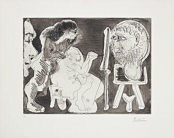 """671. Pablo Picasso, """"Le modele et son Peintre""""."""