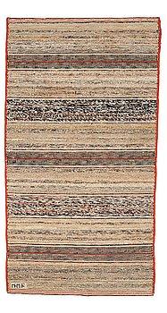 """212. Märta Måås-Fjetterström, A CARPET, """"T.matta"""", a rag rug, flat weave, ca 204,5 x 111-113 cm, signed MMF."""
