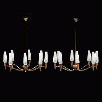 A pair of teak ceiling lamps, 1960/70s.