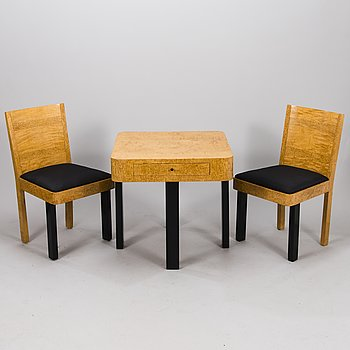 BIRGER HAHL, A 1930s table and a pair of chairs for J. Kutvosen Huonekalutehdas, Suonenjoki.