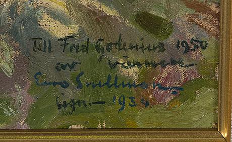 Eero snellman, olja på duk, signerad och daterad 1934, med dedikation.