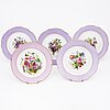 A set of five russian porcelain plates by the imperial porcelain factory, saint petersburg, period alexander ii.