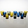 Saara hopea, drinking glasses 1710, 12 pcs, glass in various colours.