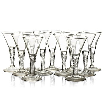 354. A set of 11 wine glasses, 18th Century, possibly Kungsholms glass works.