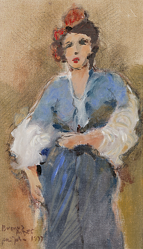Olli joki, oil on canvas, 'madame', signed and dated buenos aires 1999.