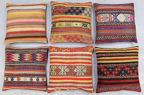 Six kilim cushions, approx, ca 60 x 60 cm.
