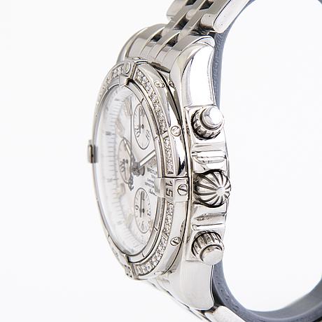 Armbandsur, breitling, chronomate evolution acier, stål + diamanter 1.14 ct tw/vvs. 2000-tal. 50 mm.