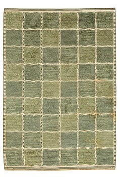 """194. Barbro Nilsson, A CARPET, """"Gyllenrutan grön"""", knotted pile in relief, ca 252,5 x 177 cm, signed AB MMF BN."""
