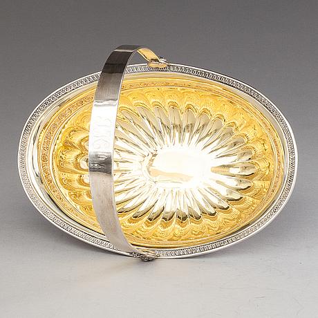 Oskar lindroos, a parcel gilt bread basket, marked ol, helsinki 1926.