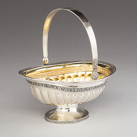 Oskar lindroos, a parcel gilt bread basket, marked ol, helsinki 1926.