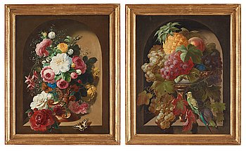 506. Theodor Schröder, Still-lifes with flowers and butterflies and fruits and a bird.