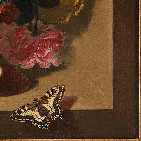 Theodor schröder, still-lifes with flowers and butterflies and fruits and a bird.