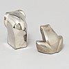 Gunnar cyrÉn, two silverplated figurines, danish design, japan.