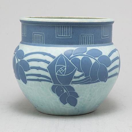 Josef ekberg, a 'sgraffito' creamware vase, gustavsberg, signed and dated 1911.