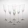"""Six """"aurora"""" champagne glasses by heikki orvola produced by arabia, finland in the late 20th century."""