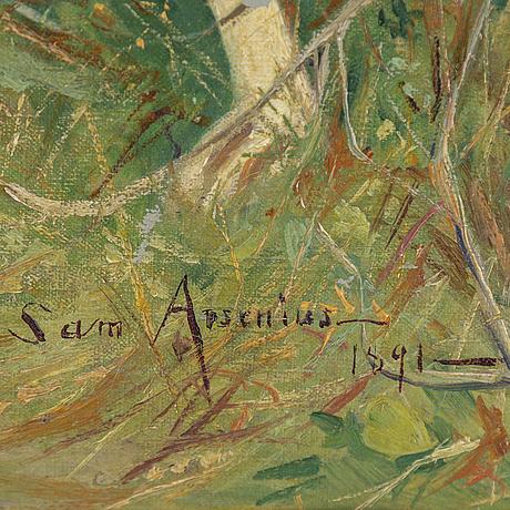Samuel (sam) arsenius, olja duk, signerad och daterad 1891.