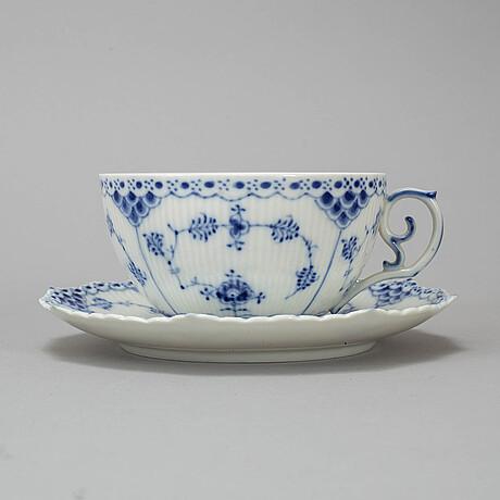 "A set of six danish royal copenhagen ""blu fluted full lace"" pordelain teacups and saucers model 1142."