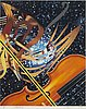 James rosenquist, offset in colors with silkscreen in silver, signed and dated 1988, numbered 99/100.
