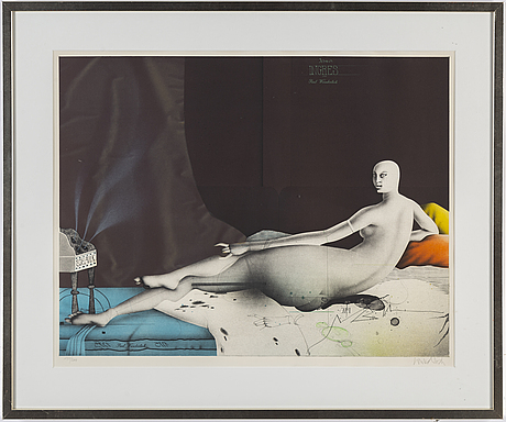 Paul wunderlich, lithograph in colours, signed 177/200.