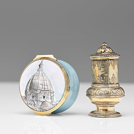 A 18th century silver gilt snuff-box, unmarked. and a enameled snuff-box with the duomo, firenze, modern make.