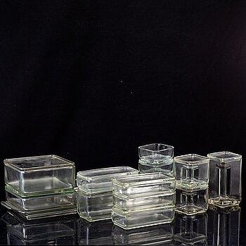 WILHELM WAGENFELD, 'Kubus' stackable storage glass containers, Vereinigte Lausitzer Glaswerke AG, ca 1938.