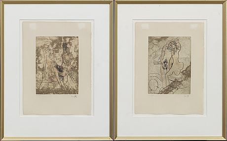 Roberto matta, two etchings, signed.