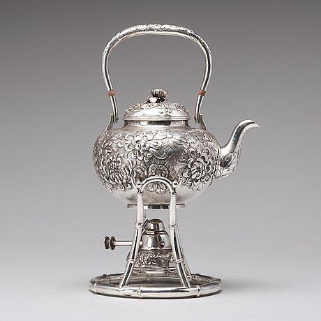 A japanese silver tea pot with burner and stand, makers mark samurai shokai, yokohama, sterling.