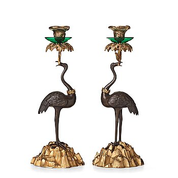54. A pair of English candlesticks, mid 19th century.