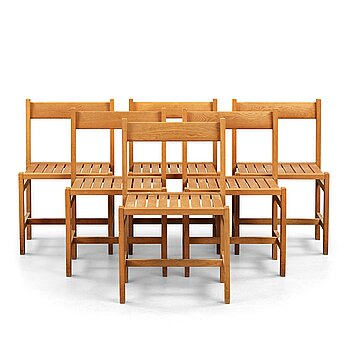 12. John Kandell, six oak chairs for S:t Nicolai chapel, Helsingborg, Sweden 1956, probably executed by cabinetmaker David Sjölinder.