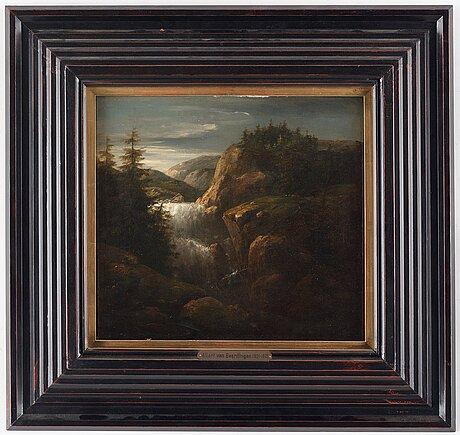 Allaert van everdingen, landscape with a waterfall.
