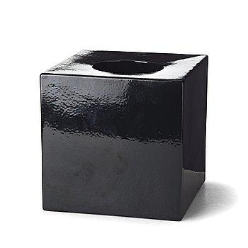 "14. Ettore Sottsass, a black glazed ceramic ""Cubic vase model 585"", Società Ceramica Toscanadi Figline, Italy, 1962."