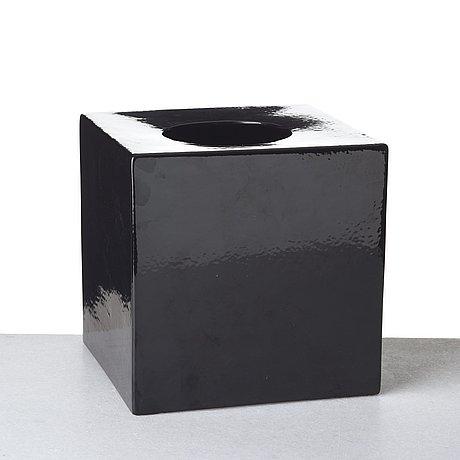 "Ettore sottsass, a black glazed ceramic ""cubic vase model 585"", società ceramica toscanadi figline, italy, 1962."