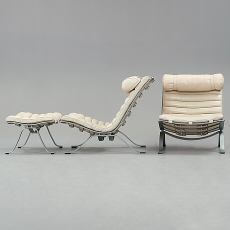 "Arne norell, ""ari"", a pair of white leather easy chairs and one ottoman for norell möbel ab, sweden."