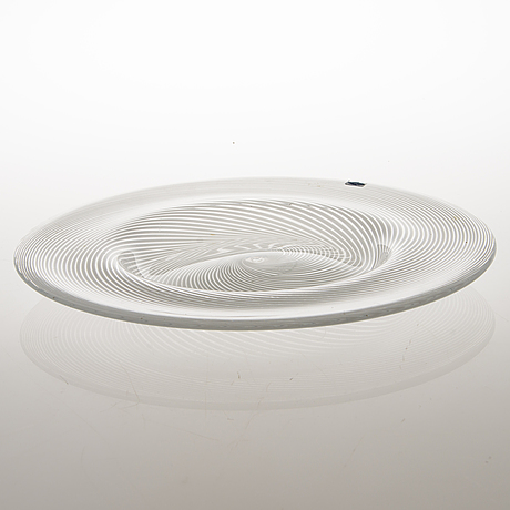 Heikki orvola, a filigree glass dish produced at nuutajärvi notsjö, signed.