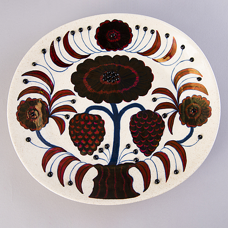 "Birger kaipiainen, ""rose"" a decorative ceramic plate, signed, numbered 1883/2000, arabia 1980 made in finland."