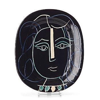"""148. Pablo Picasso, a """"Visage de femme"""" faience dish, Vallauris, Madoura, France post 1953, A Ramié 220."""