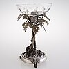 A silver-plated centrepiece with fitted cut glass bowl, late 19th century.