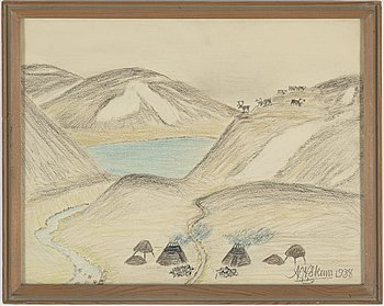 NILS NILSSON SKUM, crayon and pencil, signed N.N.Skum and dated 1938.