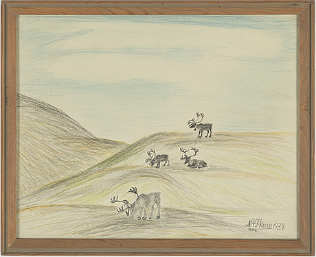Nils nilsson skum, crayon and pencil, signed n.n. skum and dated 1938.