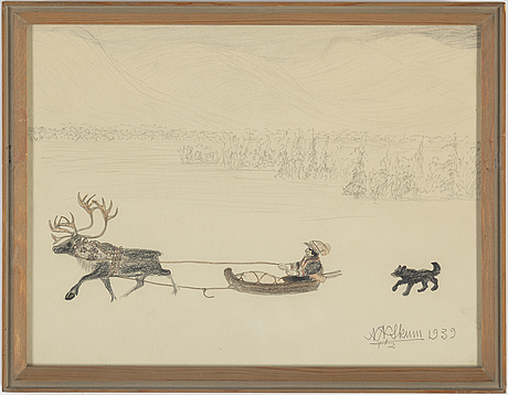 Nils nilsson skum, pencil and crayon, signed n.n. skum and dated 1939.