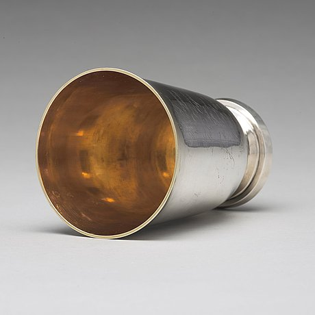 A swedish 19th century parcel-gilt silver beaker, mark of adolf zethelius, stockholm 1820.